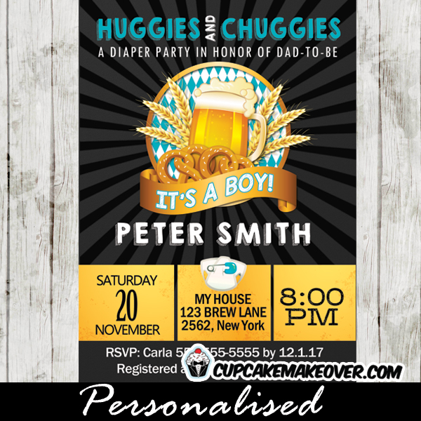 huggies and chuggies invitations  beer themed baby shower