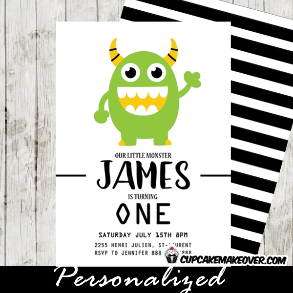 Little Monster 1st Birthday Invitations Green Black And