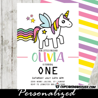 magical rainbow unicorn birthday party invitations princess pony horse twinkling stars