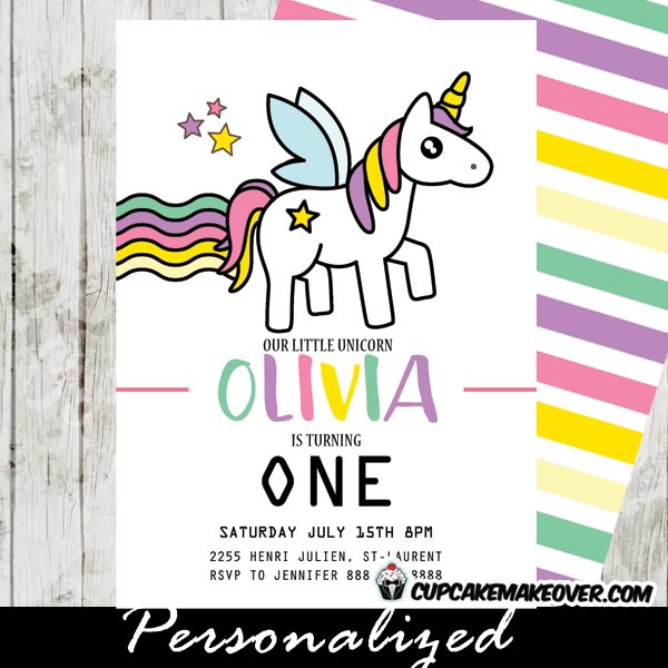 magical rainbow unicorn birthday party invitations princess pony horse twinkling stars - Girl Birthday Party Invitations