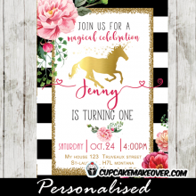 elegant gold foil unicorn birthday invitations floral black and white stripes princess pony horse theme