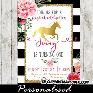 elegant gold foil unicorn birthday invitations floral black and white stripes princess pony horse theme