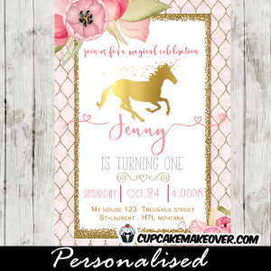 gold foil unicorn birthday invitations pink floral pony horse