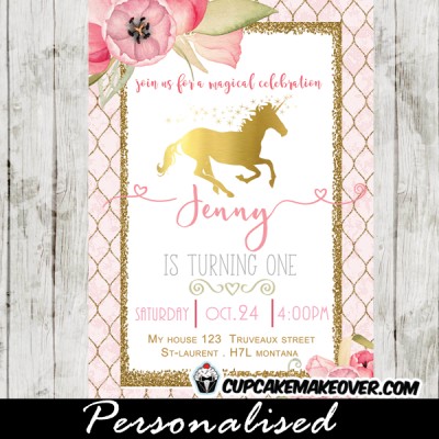 gold foil unicorn birthday invitations pink floral pony horse