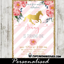 gold foil unicorn birthday invitations floral pink and white stripes