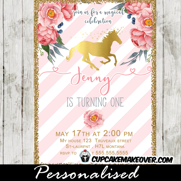 Unicorn Birthday Invitations Floral Pink White Stripes