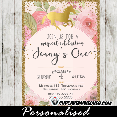 gold foil unicorn birthday party invitations princess pony horse theme boho pink roses