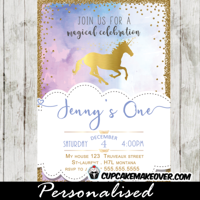elegant gold foil unicorn birthday invitations princess pony horse theme pastel hues