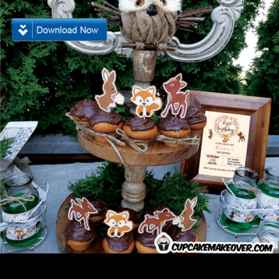 woodland themed cupcakes toppers forest animals small cutouts