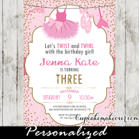 ballerina themed 1st birthday party ballet invitations pink tutu