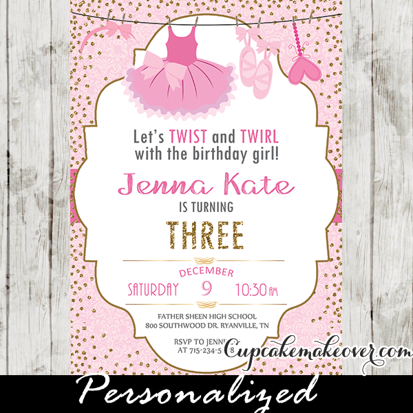 Ballerina Birthday Invitations Pink Tutu Ballet Party