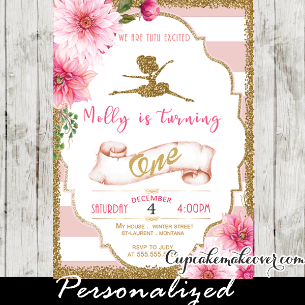 Ballerina Invitations Pink Stripes Floral Gold Ballet Birthday