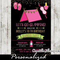 campout girls slumber party invitations sleepover birthday party ideas pink camping tent