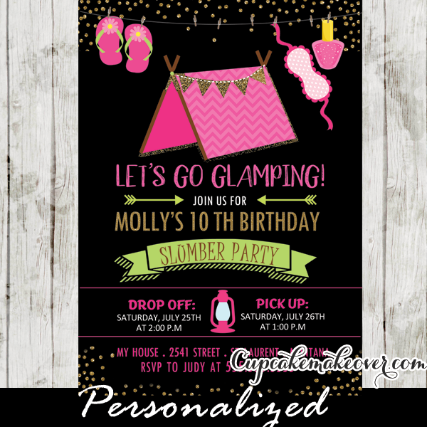 sleepover camping birthday invitations girls glamping slumber party
