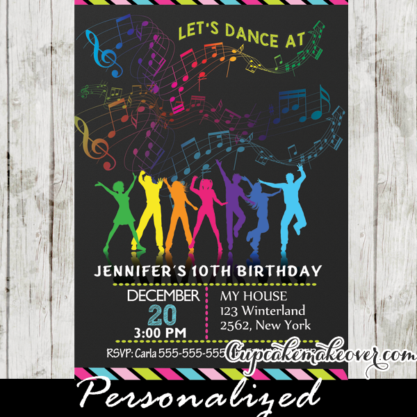 Dance Party Birthday Invitations Rainbow Music Notes