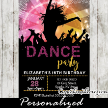 girls dance party invitations for kids sweet 16 tweens