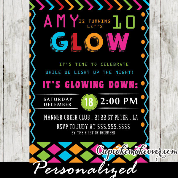 Glow In The Dark Dance Party Invitations Girls Neon Colors