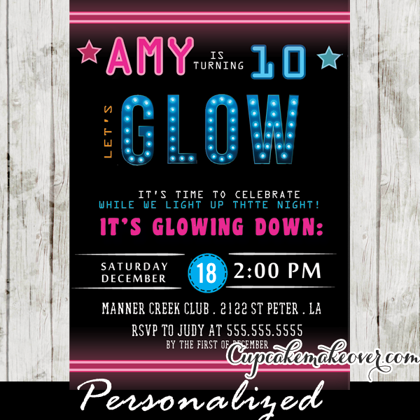Glow Dance Party Invitations Pink And Blue Neon Lights