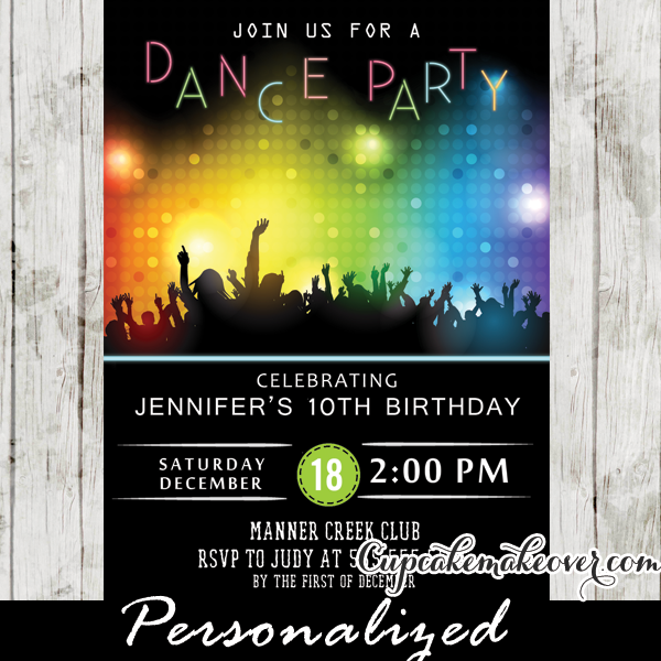 Dance Party Invitations Disco Bokeh Lights Cupcakemakeover