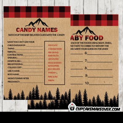 pine trees forest wilderness buffalo plaid lumberjack baby shower games party