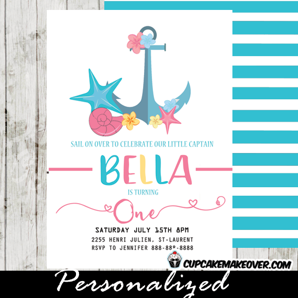 Nautical Birthday Invitations Anchor Coral Blue Yellow