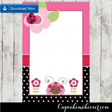 editable pink ladybug thank you cards printable
