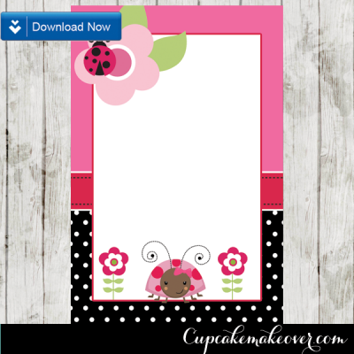editable pink ladybug thank you cards printable