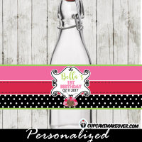 ladybug water bottle labels wrappers personalized pink