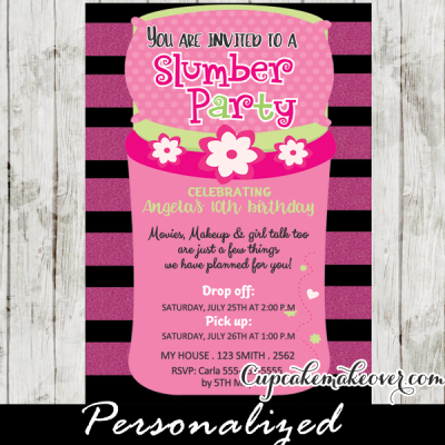 pink sleeping bag slumber party invitation girls sleepover birthday invitations