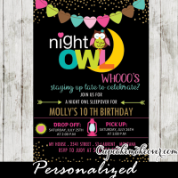 sleepover birthday party invitations girls slumber party night owl gold glitter bunting flags