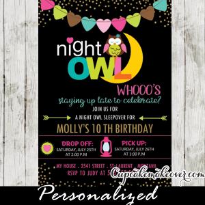 sleepover birthday party invitations girls slumber party night owl gold glitter bunting flags