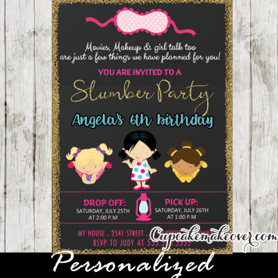 slumber party invitation girls sleepover pajama birthday invites ideas