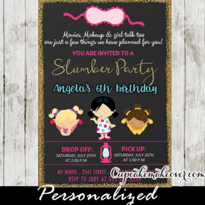 slumber party invitation girls sleepover pajama birthday invites ideas