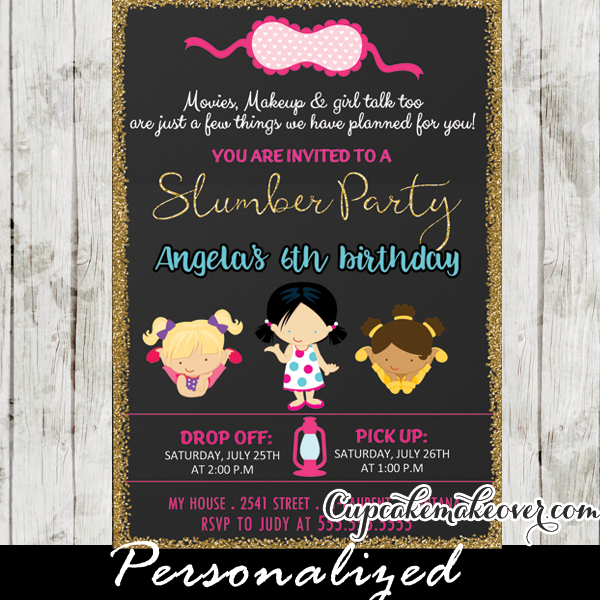 Slumber Party Invitations Girls Sleepover Pajama Birthday Party