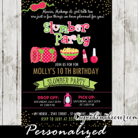 sleepover birthday party invitations girls slumber party ideas pajama pink green