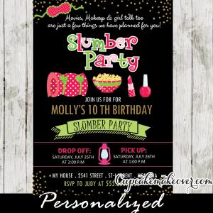 sleepover birthday party invitations girls slumber party ideas pajama pink green