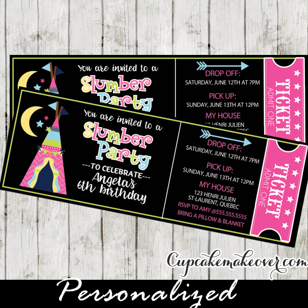 slumber party invitations glam camping sleepover birthday tickets