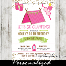 girls camping slumber party invitations sleepover birthday party ideas pink tent