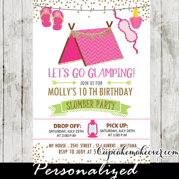 slumber party invitations pink glamping tent sleepover birthday