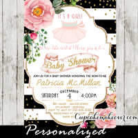 tutu cute baby shower invitations ballerina theme ideas