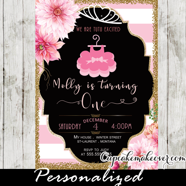 Tutu Party Invitations Floral Pink Gold Ballerina Birthday