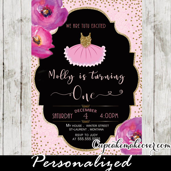 watercolor floral pink tutu party invitations ballerina birthday gold glitter