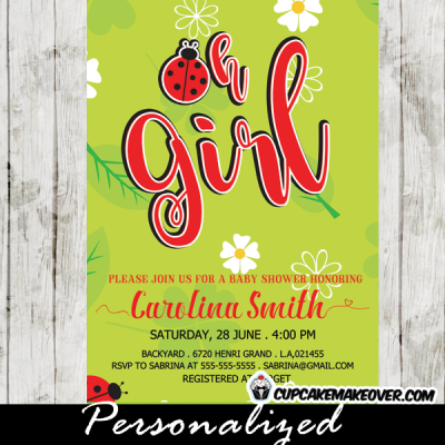 red ladybug baby shower invitations green spring white daisy flowers oh girl
