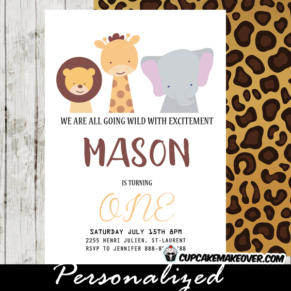 Jungle Theme Birthday Invitations Leopard Print Animal Party Ideas