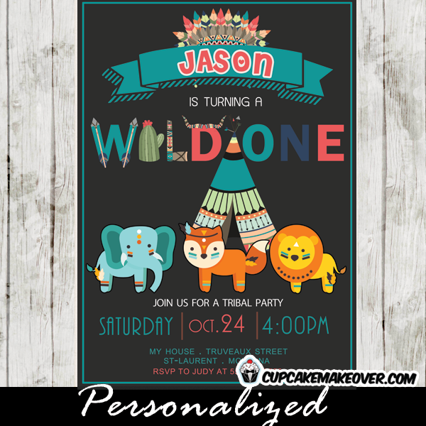 tribal first birthday wild at one birthday theme pow wow party invitations