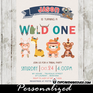 wild at one birthday theme tribal first birthday invitations