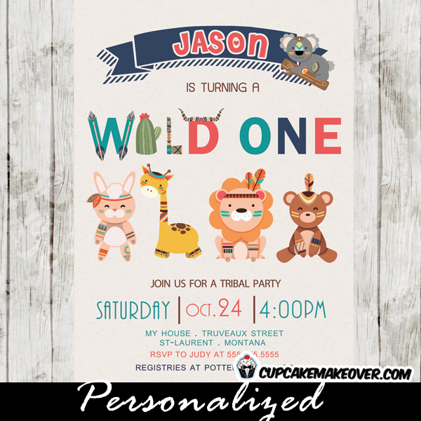 Wild one birthday invitations tribal animals pow wow party wild at one birthday theme tribal first birthday invitations filmwisefo