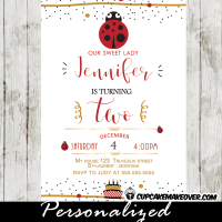 ladybug birthday invitations red black cake confetti girls