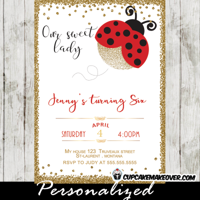 sweet ladybug party supplies birthday invitations theme red gold glitter girls