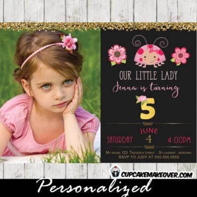 pink ladybug birthday invitations photo 1st first girls invite floral gold